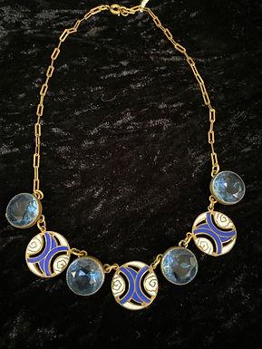 Art Deco Open-Back Blue Crystal and Enamel
