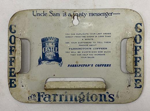 Vintage Farrington's Castle Brand Coffee Note Holder
