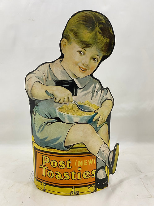 1913 Post Toasties Cardboard Advertisement