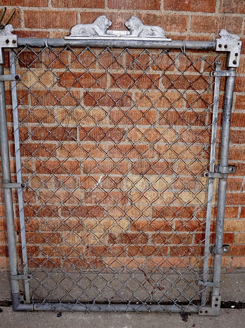 Chain-link Gate with Ornamental Lions