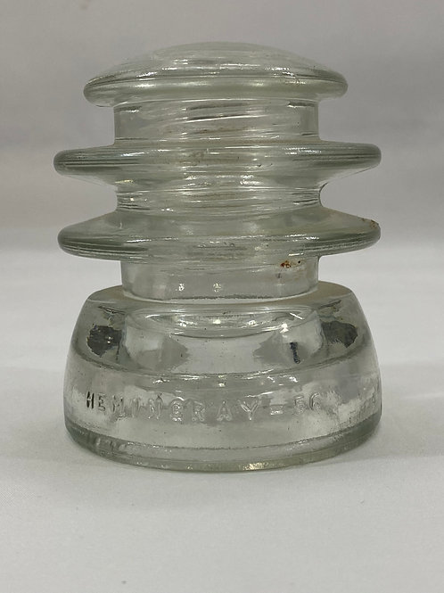 Vintage Glass Insulator Hemingray -  56 Clear