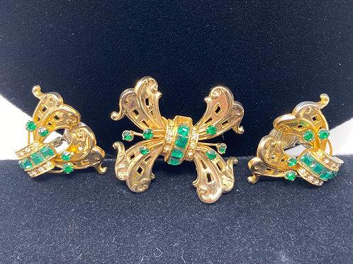 Coro Green Bow Rhinestone Brooch and Earrings Set