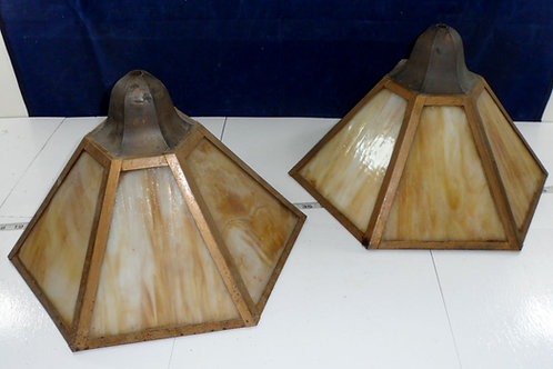 Pair Mission Slag Glass Lamp Shades