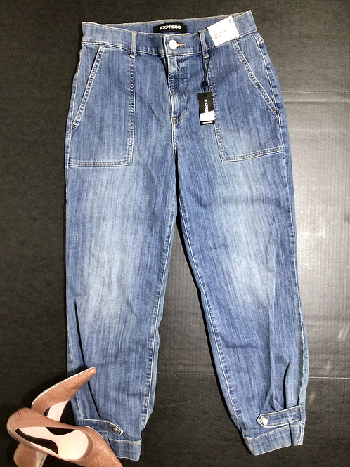 Express Jeans High Waisted Straight Cinched Hem Cropped