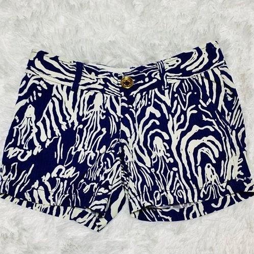 "Lilly Pulitzer 5"" Shorts Blue White Pattern Sz 00"