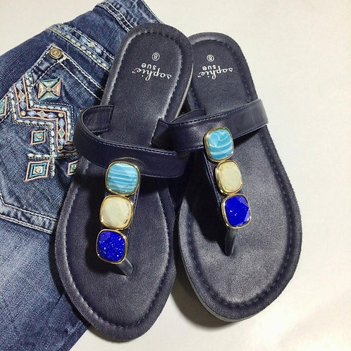 Sophie Sue Thong Flip Flops Size 8 Blue