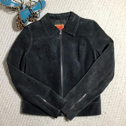 Isaac Mizrahi Leather Jacket Gray Size Small