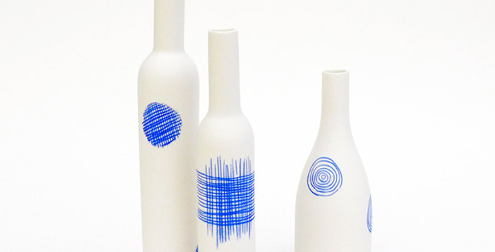 Porcelain Bottle - Croix - Small - Blue