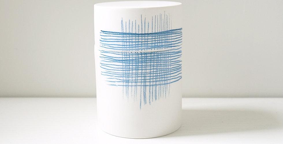 Porcelain Box - Pencil Pattern Croix Blue