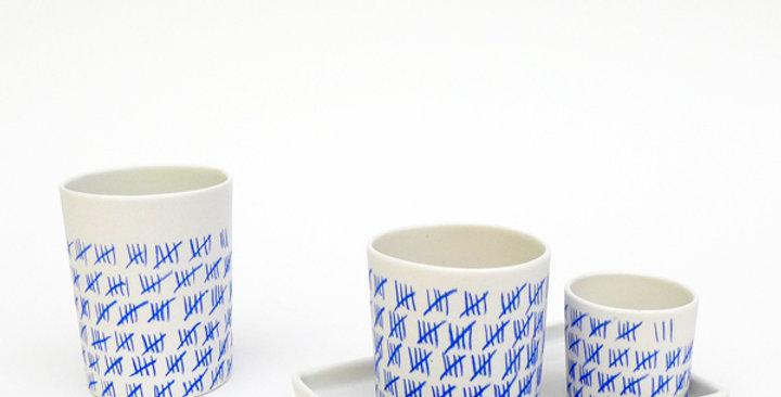 Porcelain Cup Pencil Pattern Decompote L Blue