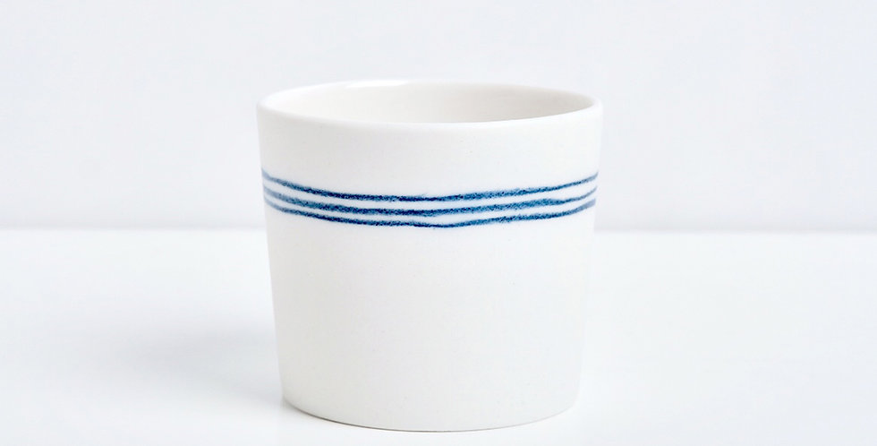 Porcelain Cup Pencil Pattern marinière S Blue