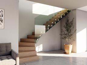 L-formade trappor med härdat glas