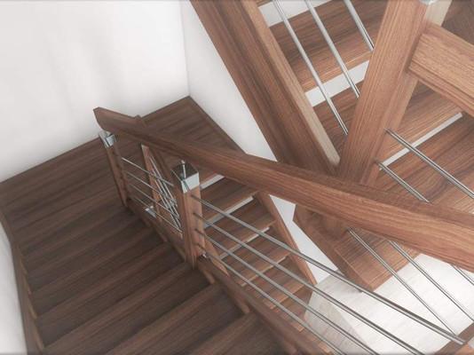 Ek trappor med element i rostfritt stål