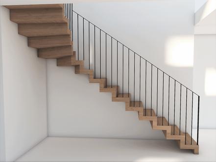 Modern ek trappa med metallarbetarens räcke