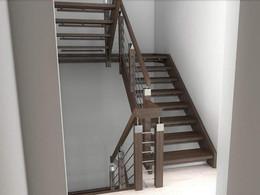 Svarte trapper med elementer av rustfritt stål
