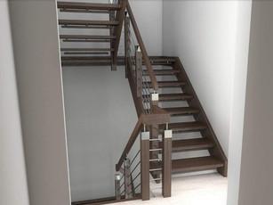 Svarta trappor med element i rostfritt stål