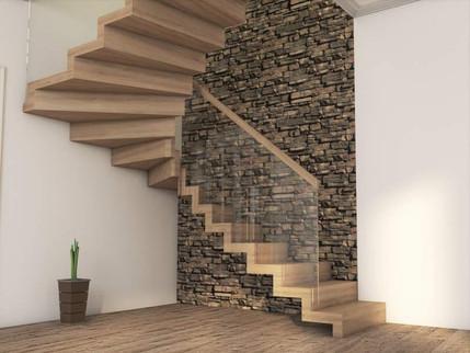 Moderne trapp med glass rekkverk