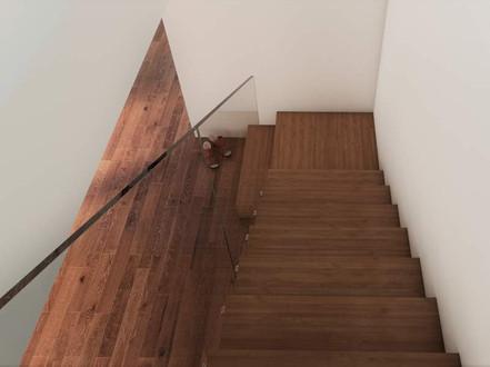 Moderna trappor med glasräcke
