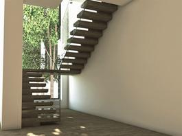 Hylle trapp med glassbalustrade