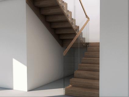 Eik trapp med glass rekkverk