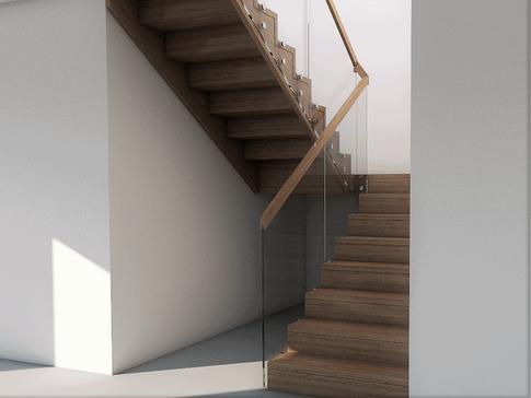 Schody półkowe w rustykalnym domu