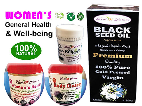 Women's Herbal Plan for General Health & Well-being (Oils, Powders, Vitamin)