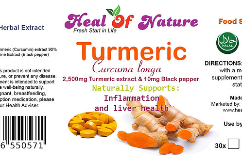 Turmeric and Black Pepper 2,500mg  Tablets  95% Curcumin Extract