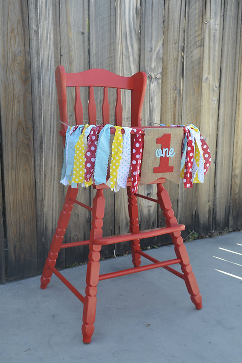 """Firetruck Red"" Vintage High Chair"