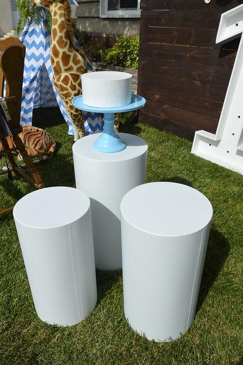 Round White Plinth Trio