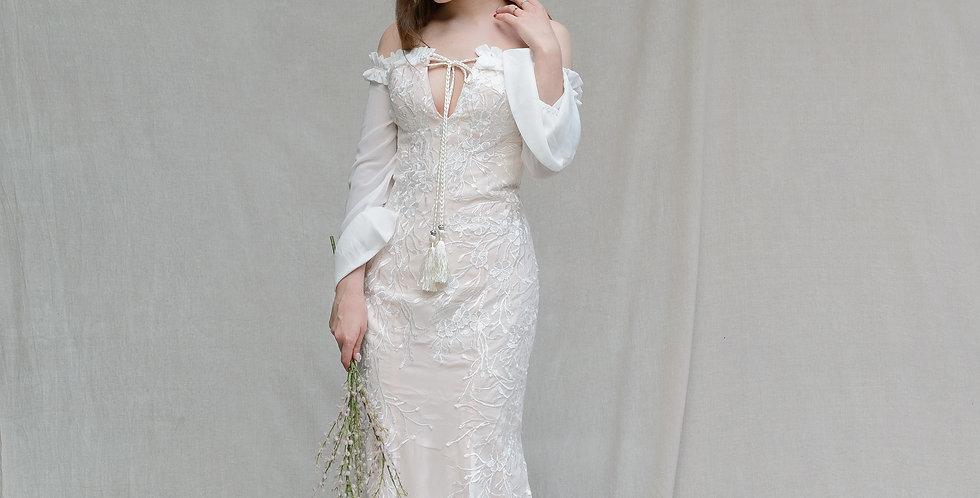 테슬 오프숄더 보헤미안 드레스 ( 대여 )
