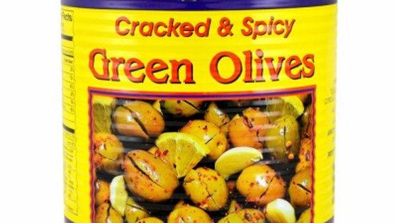M.E Green Cracked Olives Hot w/Shatta #10