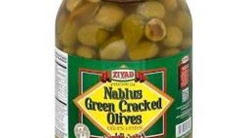 Ziyad Nablus Green Cracked Olives 48 oz Jar