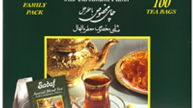 Sadaf Special Blend Tea with Cardamom 100 Tea Bags Family Pack Foil Wrapping
