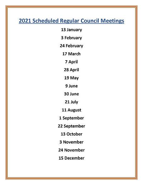 2021 Scheduled Regular Council Meetings.