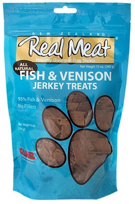 Real Meat Fish & Venison Jerky For Dogs (4oz)