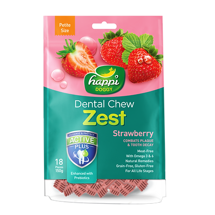 Happi Doggy Petite Gluten Free Strawberry Dental Chew ( 150g )