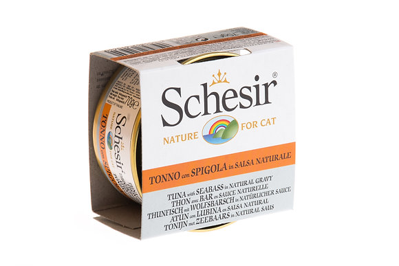 Schesir Tuna & Seabream In Natural Gravy Canned For CATS ( 70g )