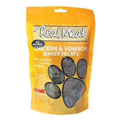 Real Meat Chicken & Venison Jerky For Dogs (4oz)