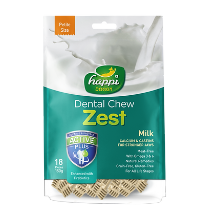 Happi Doggy Petite Gluten Free Milk Dental Chew ( 150g )