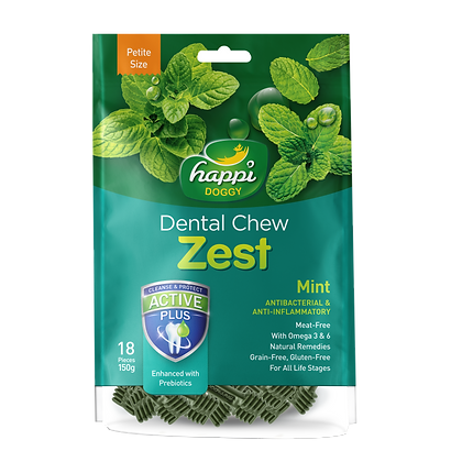 Happi Doggy Petite Gluten Free Mint Dental Chew ( 150g )