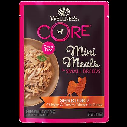 Wellness Core Shredded Chicken & Turkey IN Gravy Small Breed Mini Meals (3oz)