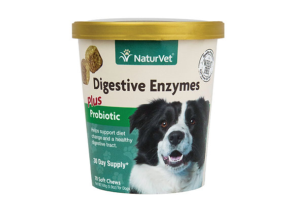 NaturVet Digestive Chew Enzymes Plus Probiotic Soft ( 70 ct )