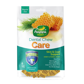 Happi Doggy Fennel Grass & Honey Skin & Coat Support Dental Chew ( 150g )