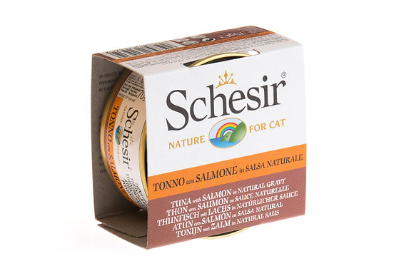 Schesir Tuna & Salmon In Natural Gravy Canned For CATS ( 70g )