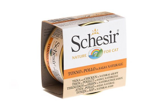 Schesir Tuna & Chicken In Natural Gravy Canned For CATS ( 70g )