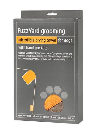 Fuzzyard Microfibre Drying Towel Brown With Orange Trim ( 90cm x 60cm )