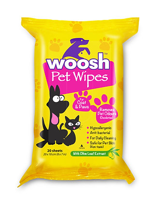 Woosh Pet Wipes (20 sheets x 3 packs)