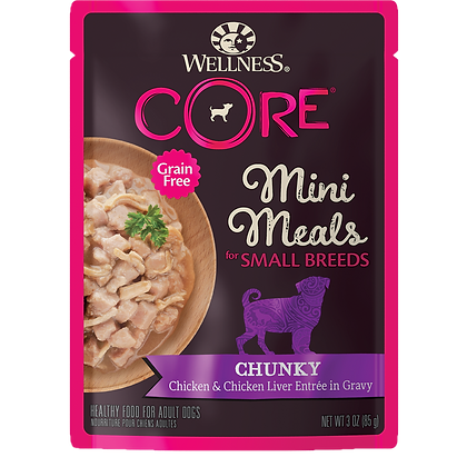 Wellness Core Chunky Chicken & Chicken Liver Small Breed Mini Meals (3oz)