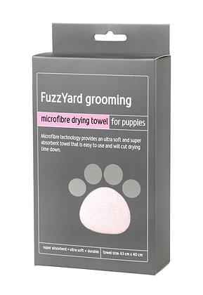 Fuzzyard Puppy Microfibre Drying Towel Pink With Grey Trim ( 63cm x 40cm )