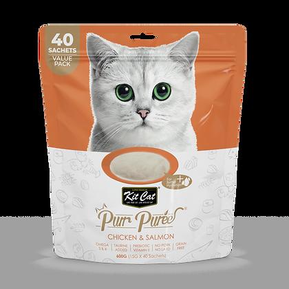 Kit Cat Purr Puree Chicken & Salmon Liquid Cat Treats Value Pack ( 40 sachets )